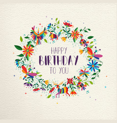 Happy birthday spring flower wreath greeting card vector