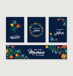 happy mother day french flower card and label set vector image