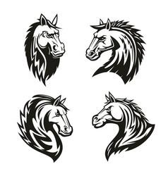 heraldic icons horse head vector image