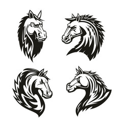 Heraldic icons of horse head vector