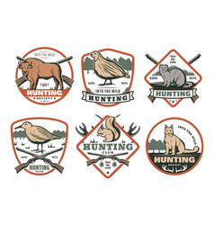 hunting animal bird with rifle retro shield badge vector image