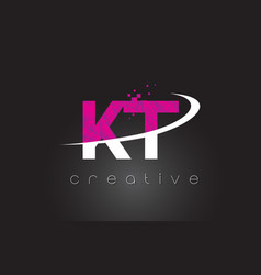 Kt k t creative letters design with white pink vector