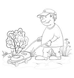 Lawn mower man outline vector