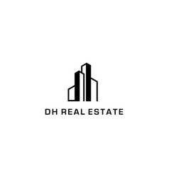 letter d and h with building logo design concept vector image