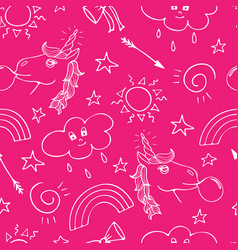 lovely seamless pattern with hand-drawn unicorns vector image