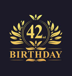 Luxury 42nd birthday logo 42 years celebration vector