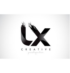 lx letter design with brush stroke and modern 3d vector image