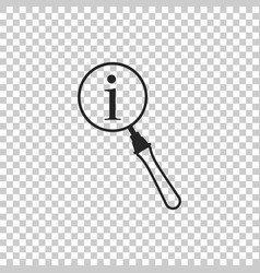 Magnifying glass and information icon isolated vector