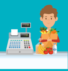 Man with supermarket groceries in shopping bag vector