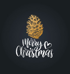 merry christmas lettering pinecone drawing vector image