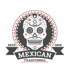Mexican vintage isolated label with sugar skull vector