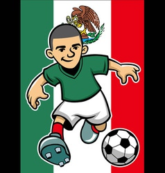 Mexico soccer player with flag background vector