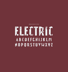 Narrow sans serif font in sport style vector