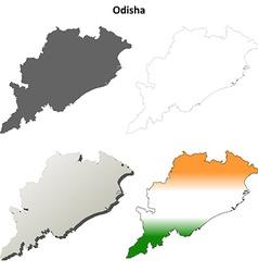 Odisha blank detailed outline map set vector