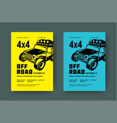 Off road truck competition poster or flyer event vector