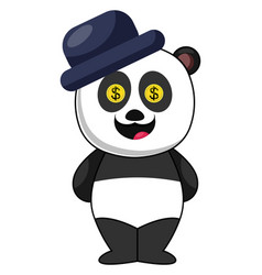 panda with blue hat on white background vector image