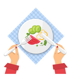 Plate of fresh vegetable salad on tablecloth vector