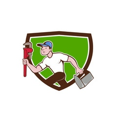 Plumber Running Toolbox Wrench Crest Cartoon vector image