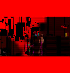 red glitch abstract background technical problem vector image