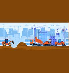 Road construction cartoon vector