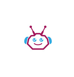 Robot head cyborg or android logo design vector