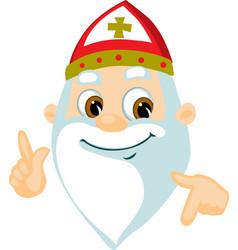saint nicolas - head and hand cartoon illu vector image
