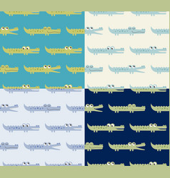 seamless green blue cute crocodile pattern vector image