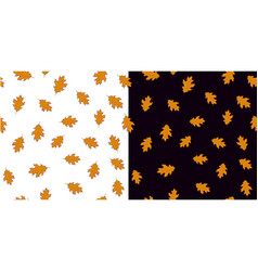 seamless pattern set with orange leaves on white vector image