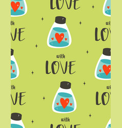 seamless pattern with bottle and hearts vector image