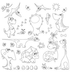Set dinosaurs outline for coloring vector