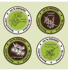 Set natural organic product badges vector
