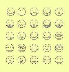 Set of emoticon with simple line design style vector
