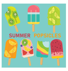 set of pastel popsicle fruit popsicle ice cream vector image