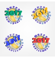 Set of volleyball and New Year 2017 vector