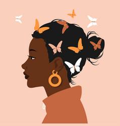 Side portrait black afro woman face on pastel vector