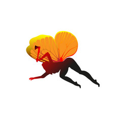 Silhouette cute girl fairie with the axe woman vector