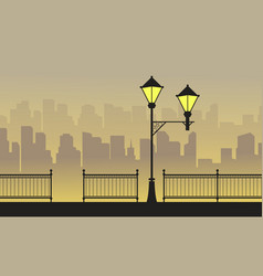 Silhouette town background with street lamp vector