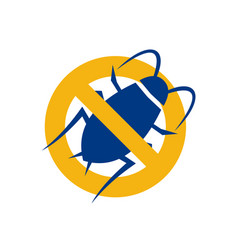 Stop cockroach icon vector