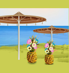 Summer umbrella and pineapple cocktails vector