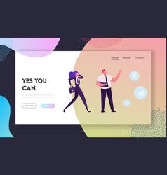 Swot website landing page businesswoman talking vector