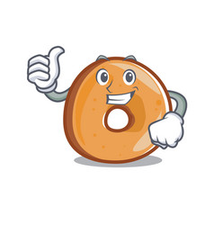 thumbs up bagels character cartoon style vector image
