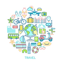 Travel set -line icons vector image