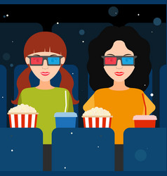 two girls at the cinema in 3d glasses vector image