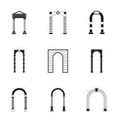 Types of arches icons set simple style vector