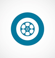 Video film bold blue border circle icon vector