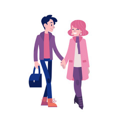 walking couple in autumn vector image