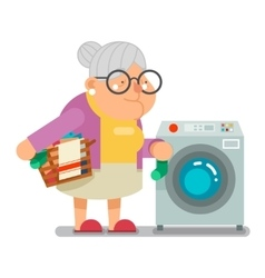 Wash dirty laundry in washing machine Household vector