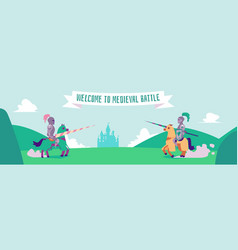welcome to medieval battle - flat cartoon banner vector image