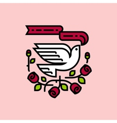 White dove and roses traditional american tattoo vector