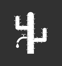 White icon on black background cactus with crane vector